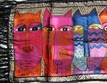 Laurel Burch Cat Scarf, Tribal Felines