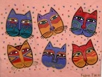 Laurel Burch Cat T Shirt, Feline Faces
