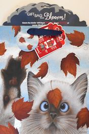Medium Cat Gift Bag, American Cat, Lowell Herrero, Falling Leaves