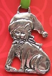Cat Ornament, Cat With Santa Hat, Pewter
