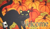 Outdoor Cat Doormat, Pumpkin Patch Welcome