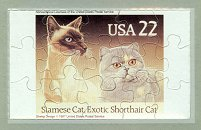 Collectible Postcard Puzzle, Siamese Cat, Exotic Shorthair Cat