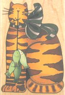 Collectible Cat Rubber Stamp, Cat And Fishes