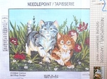 Sample, Needlepoint, Two Kittens