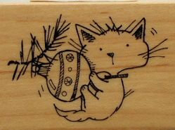 Sample, Cat Rubber Stamp, Cat And Ornament