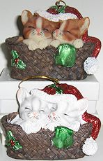 Sleeping Kittens In Basket Ornament, Orange Kittens Or White Kittens