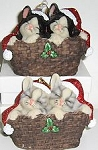 Sleeping Kittens In Basket Ornament, Tuxedo Kittens Or Grey Kittens
