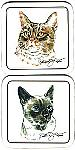Cat Coasters, Tabby  Or Siamese Cat