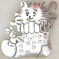 Sterling Silver Kitten Pin, Kitten In Stocking