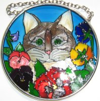 Cat Sun Catcher, Kitten And Pansies