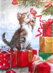 Christmas Kitten Flag, Kitten And Bauble, Mini