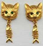 Collectible Cat Earrings, Cat Face & Fish