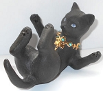 Collectible Black Cat Figurine, Feet Up, Lenox
