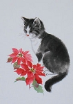 Collectible Cat Christmas Card, Tuxedo & Poinsettia