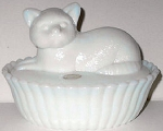 Collectible Cat Dish, Milk Glass
