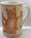 Collectible Cat Mug, Letter T, Bone China