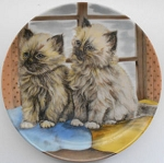 Collectible Cat Plate, Two Long Haired Kittens