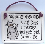 Collectible Cat Sign, Cat Takes Message