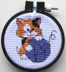 Collectible Needlework Piece, Cat And Yarn