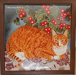 Collectible Cat Trivet, Orange Cat, Framed