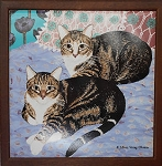 Collectible Cat Trivet, Two Cats, Framed