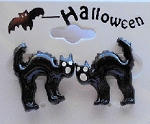 Collectible Frightful Halloween Cat Earrings
