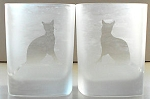Collectible Frosted Cat Glass Set