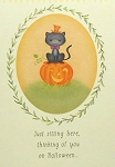 Cat Halloween Card, Sitting Here