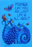 Laurel Burch Cat Magnet, Friends Like You