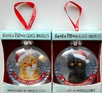 Sample, Cat Ornament, Glass Bauble, Ginger Tabby & Black Cat