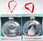 Sample, Cat Ornament, Glass Bauble, Silver Tabby & Tuxedo Cat