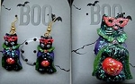 Cat Halloween Earrings, Cat Halloween Pin