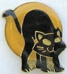 Collectible Halloween Tie Tack Pin,  Cat And Moon