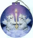 Two Angel Kittens Card And Ornament