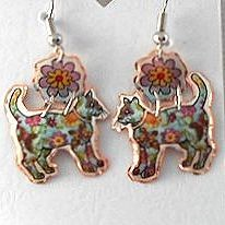 Cat Earrings, Colorful Quilted Cats