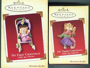 Collectible Child's First And Third Christmas Cat Ornament