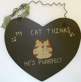 Collectible Cat Sign, He's Purrfect
