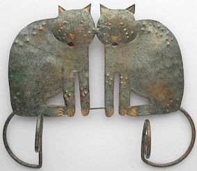 Collectible Metal Cat Wall Hook, Two Cats