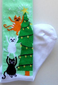Sample, Youth Knee High Christmas Socks, 3 Cats