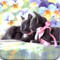 Cat Coaster, Two Black Kittens