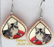 Cat Earrings, Grey And White Tabby