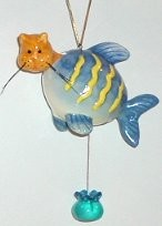 Cat Head, Blue Fish, Christmas Ornament