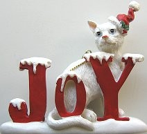 Cat Ornament, Joy, White Cat
