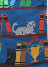 Cat Socks, Grey Cat On Bookshelf, Royal Blue