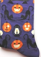 Halloween Cat Socks, Cats And Lanterns, Purple