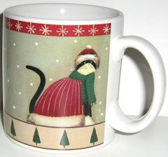 Collectible Holiday Cats Mug, Hat And Scarf, Red Trim