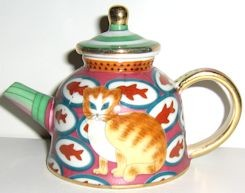 Collectible Porcelain Cat Teapot, My Treasure